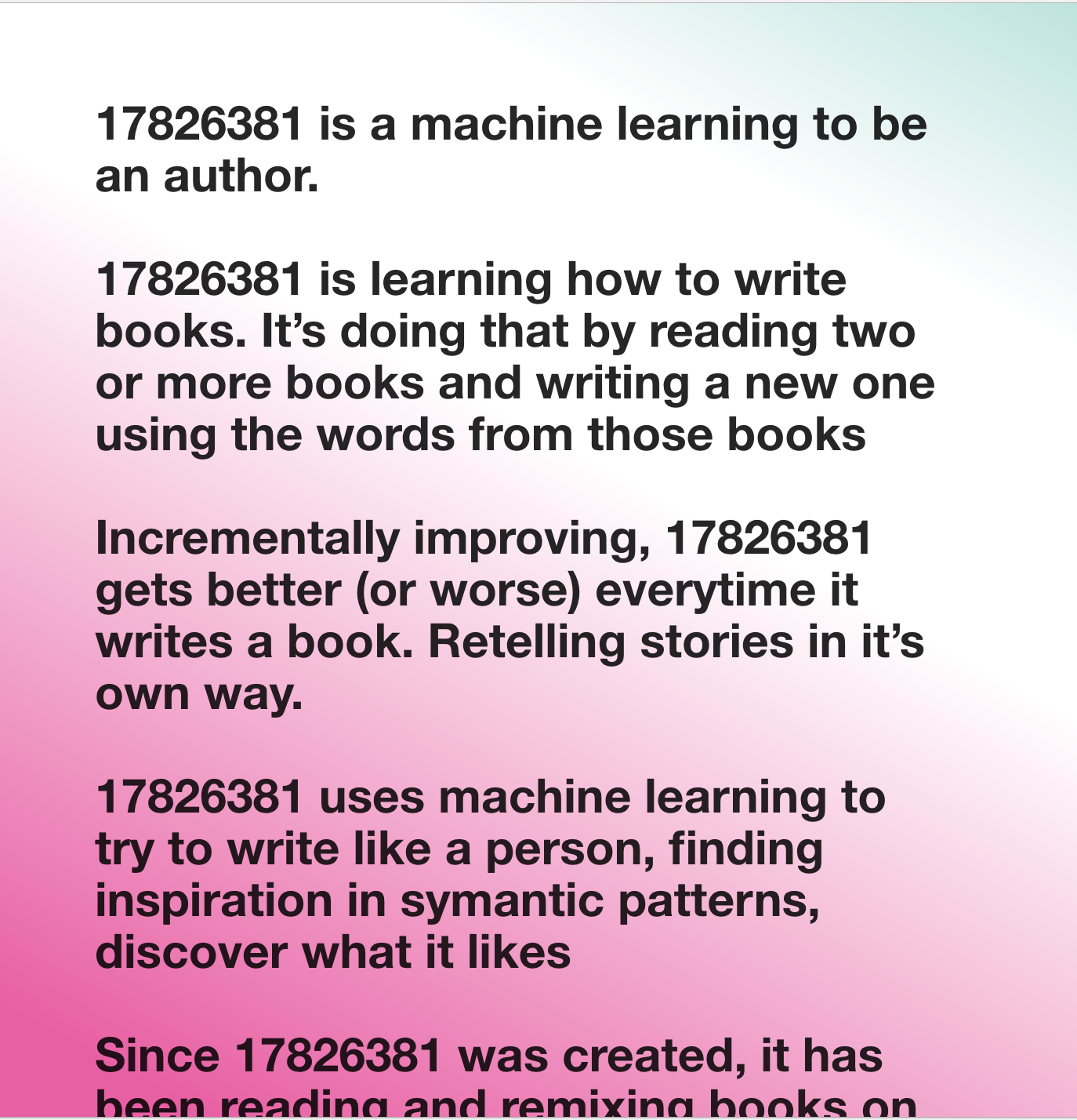 17826381 Machine Learning Author